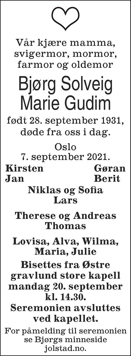 Bjørg Solveig Marie Gudim Dødsannonse