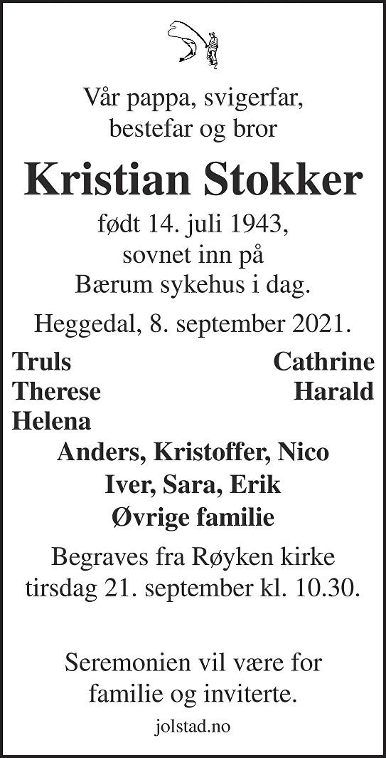 Kristian Stokker Dødsannonse