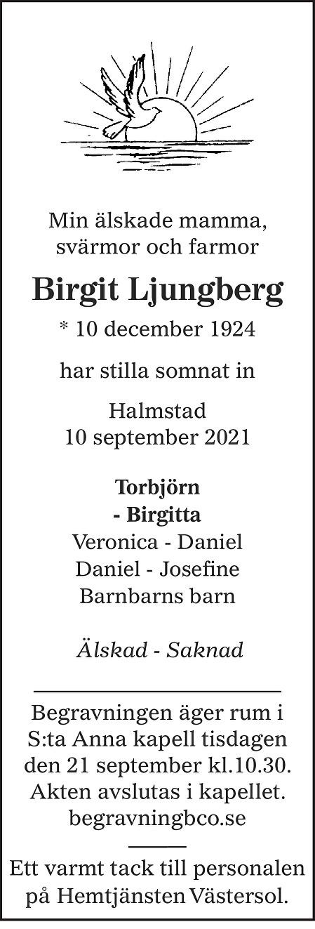 Birgit Ljungberg Death notice