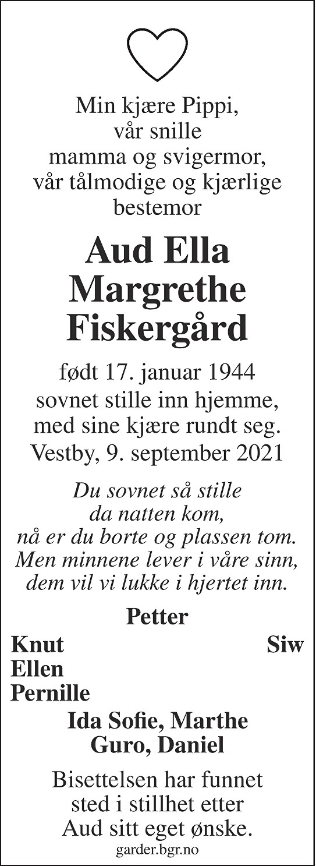 Aud Ella Margrethe Fiskergård Dødsannonse