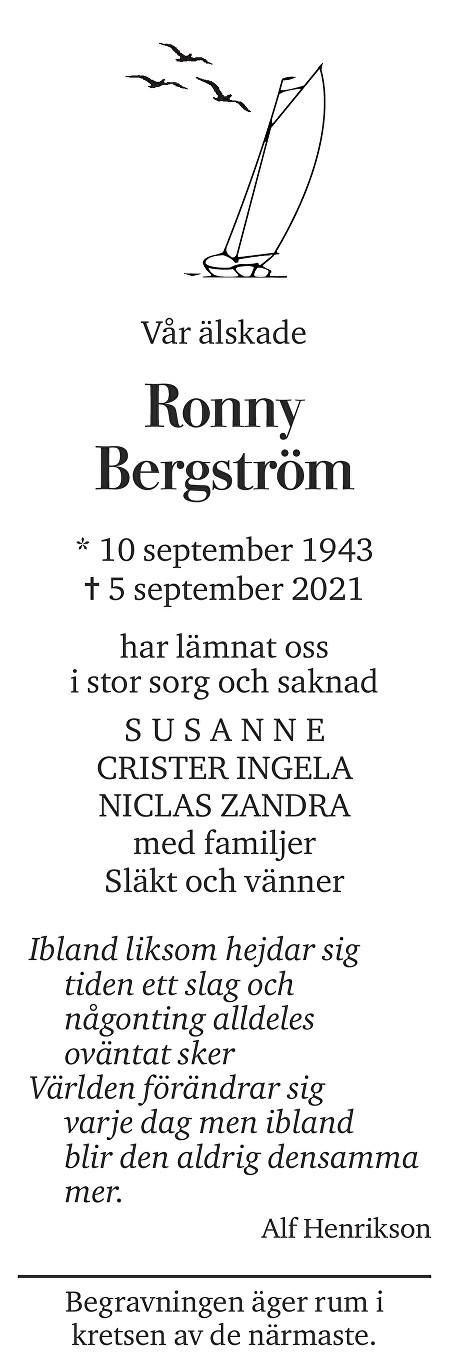 Ronny Bergström Death notice