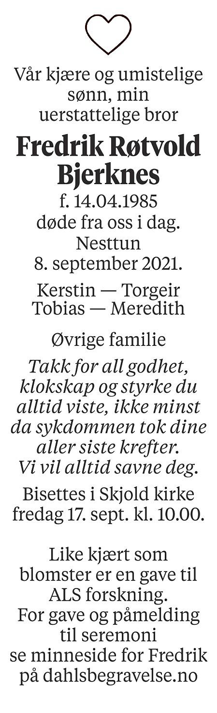 Fredrik Røtvold Bjerknes Dødsannonse