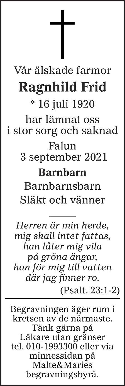 Ragnhild Frid Death notice