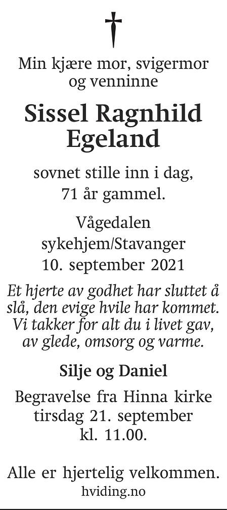 Sissel Ragnhild Egeland Dødsannonse