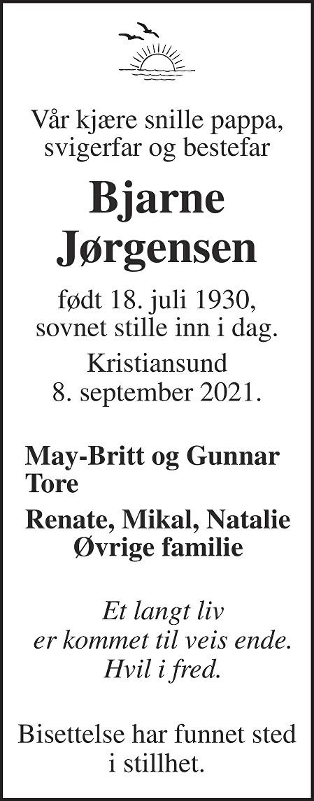 Bjarne Johan Jørgensen Dødsannonse