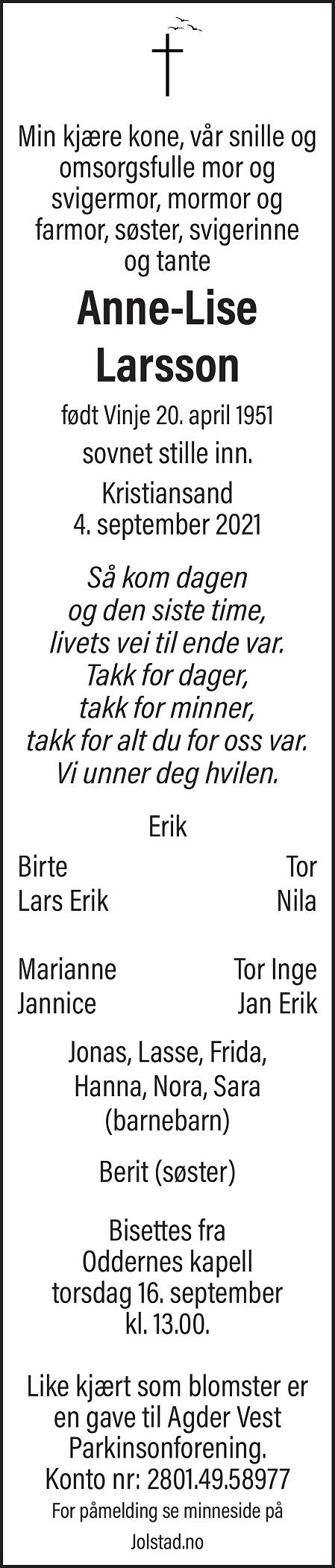 Anne-Lise Larsson Dødsannonse