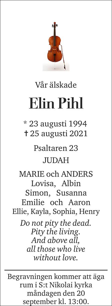 Elin Pihl Death notice