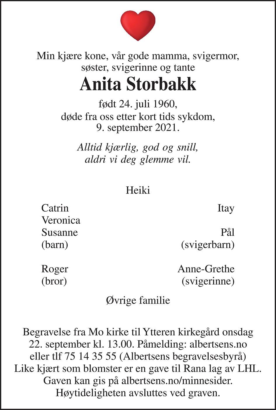Anita Storbakk Dødsannonse