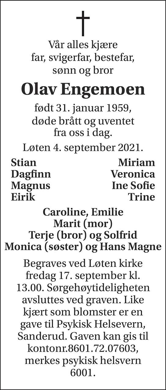 Olav Engemoen Dødsannonse