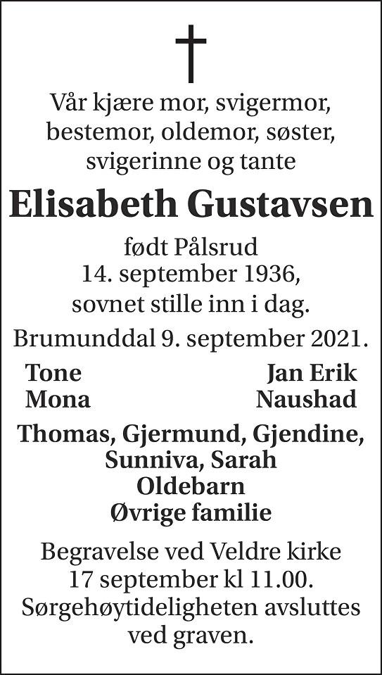 Elisabeth Gustavsen Dødsannonse