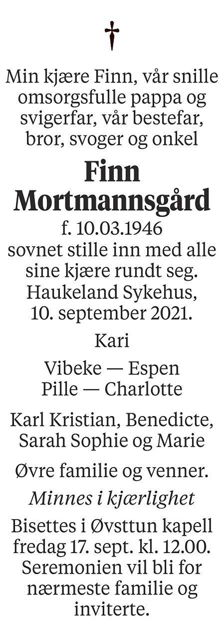 Finn Mortmannsgård Dødsannonse