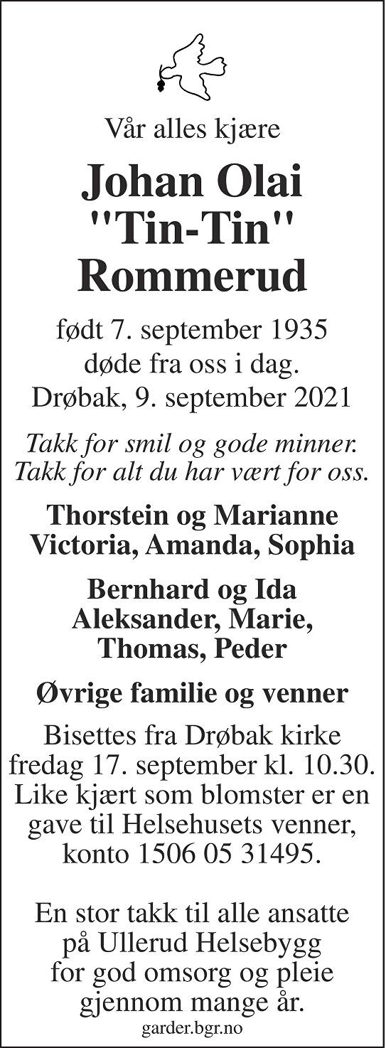 "Johan Olai ""Tinitin"" Rommerud Dødsannonse"