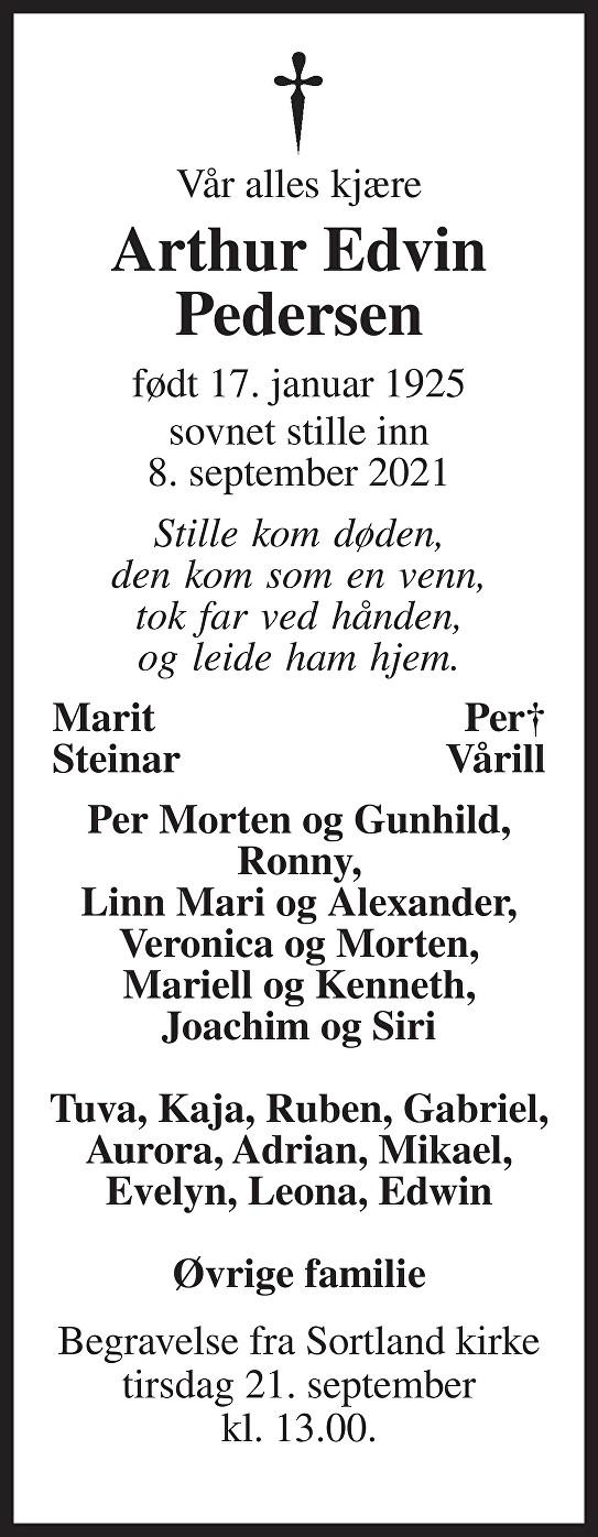 Arthur Pedersen Dødsannonse