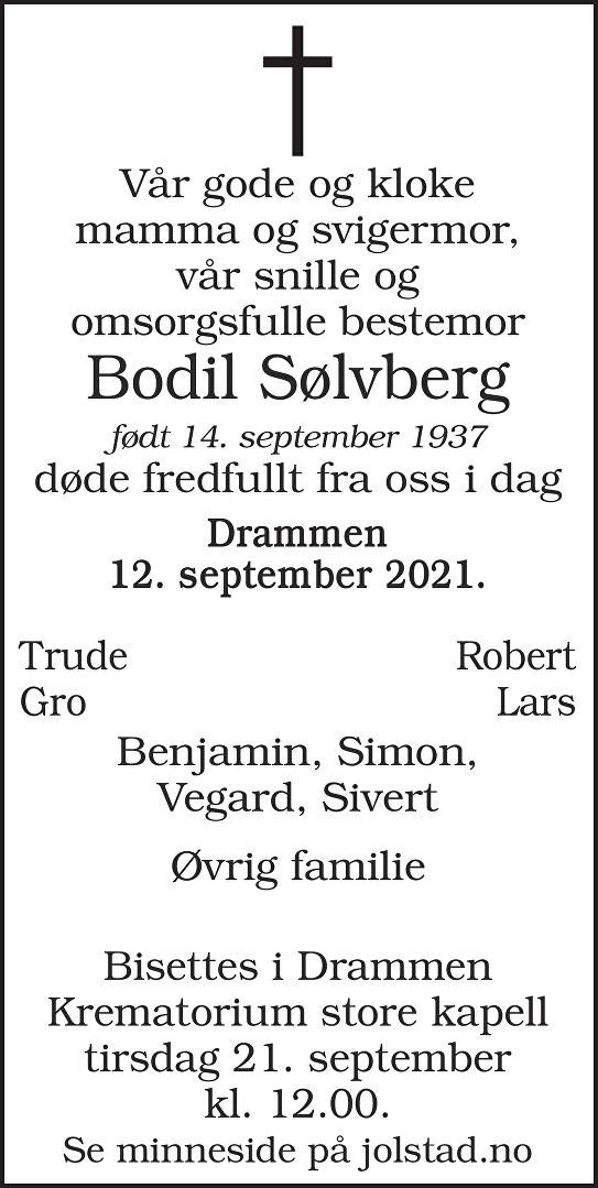Bodil Sølvberg Dødsannonse