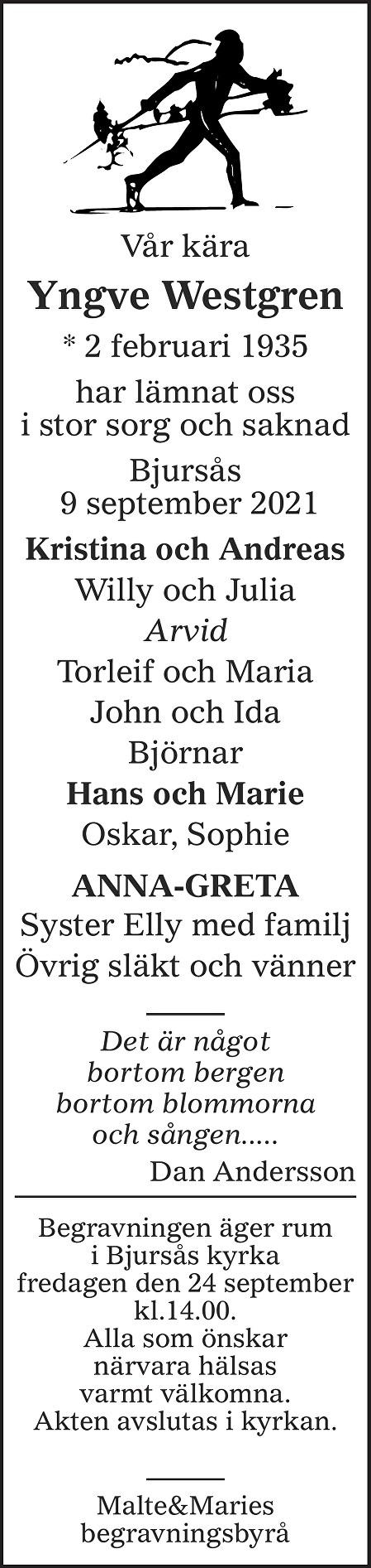 Yngve Westgren Death notice