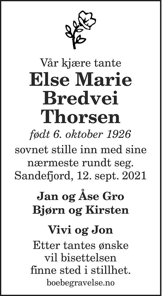 Else Marie Bredvei Thorsen Dødsannonse