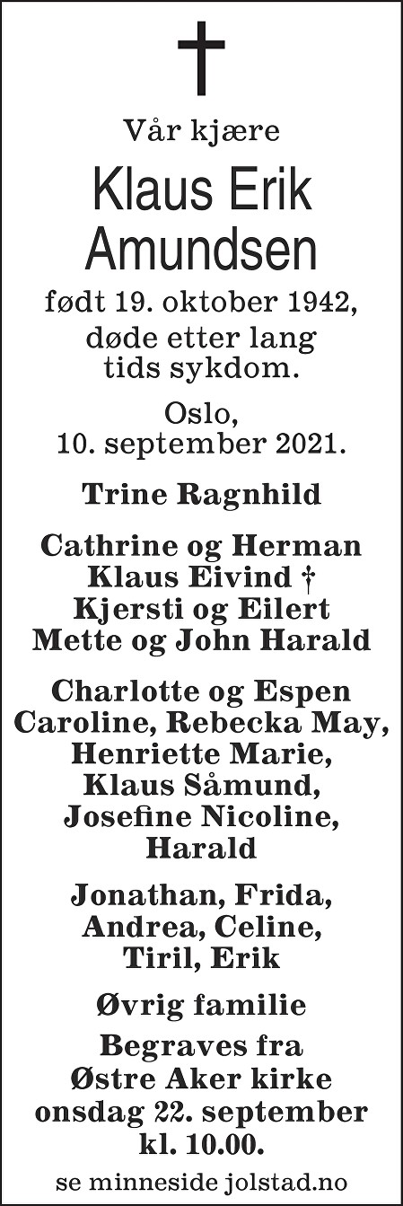 Klaus Erik Amundsen Dødsannonse