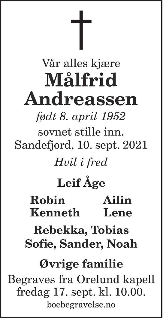 Målfrid Andreassen Dødsannonse