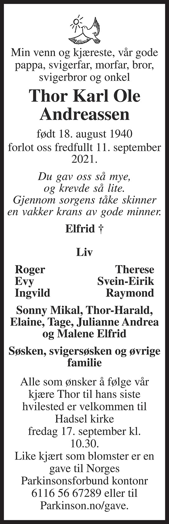 Thor Karl Ole Andreassen Dødsannonse
