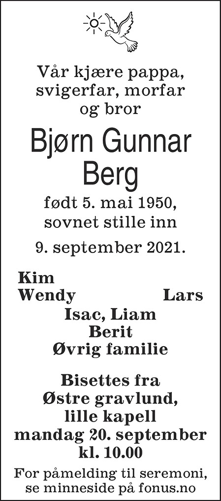 Bjørn Gunnar Berg Dødsannonse