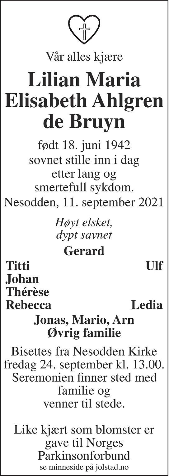 Lilian Maria Elisabeth Ahlgren de Bruyn Dødsannonse