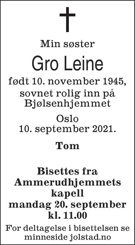 Gro Leine Dødsannonse