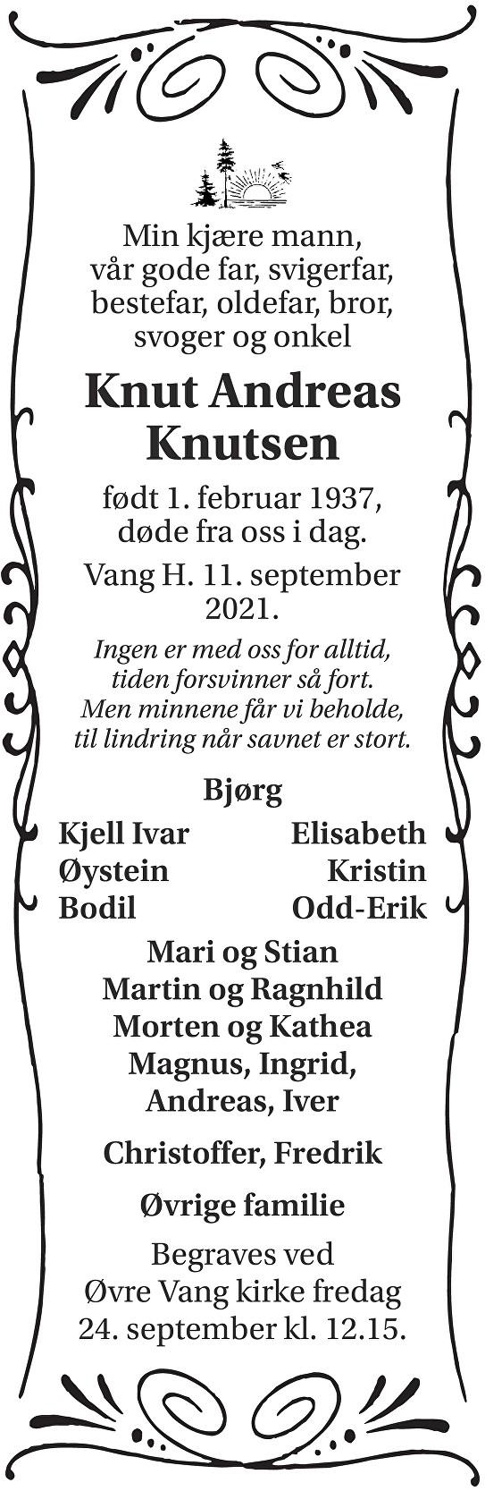 Knut Andreas Knutsen Dødsannonse