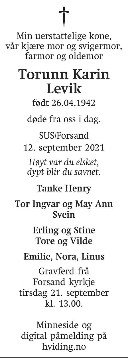 Torunn Karin Levik Dødsannonse