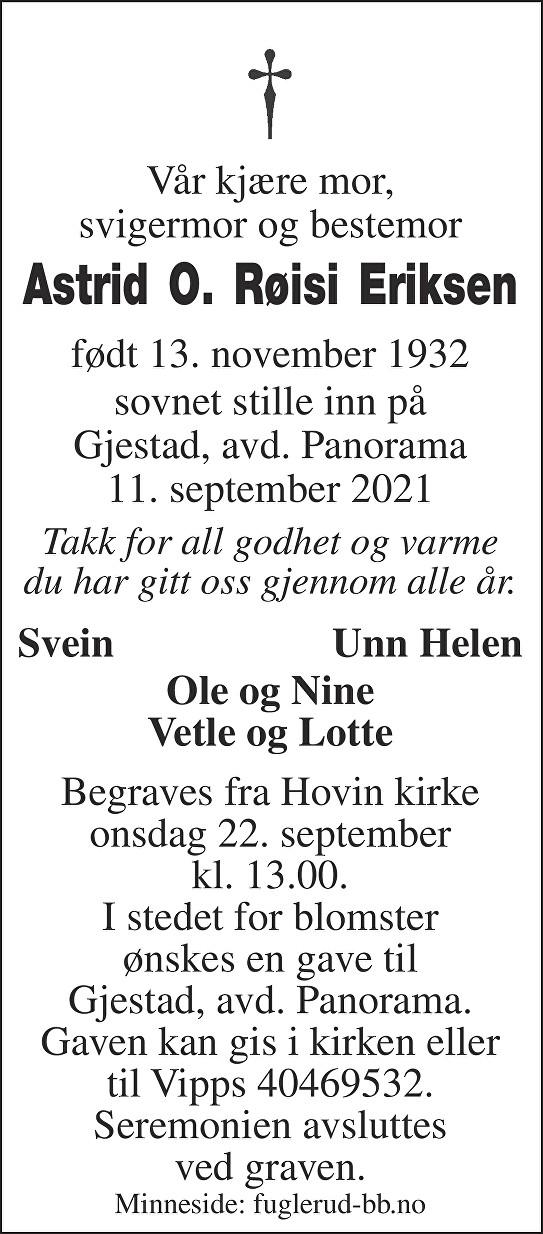 Astrid Olava  Røisi Eriksen Dødsannonse