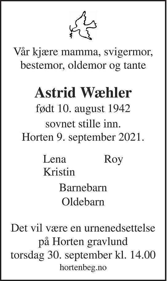 Astrid Wæhler Dødsannonse