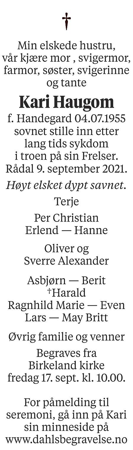 Kari Haugom Dødsannonse