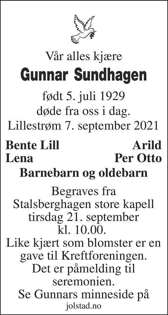 Gunnar Sundhagen Dødsannonse