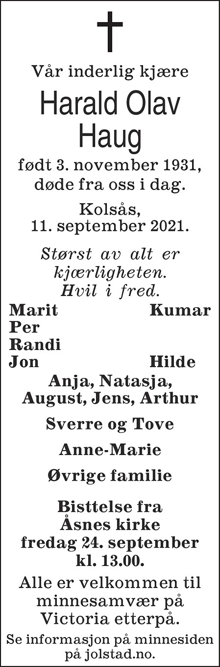Harald Olav Haug Dødsannonse