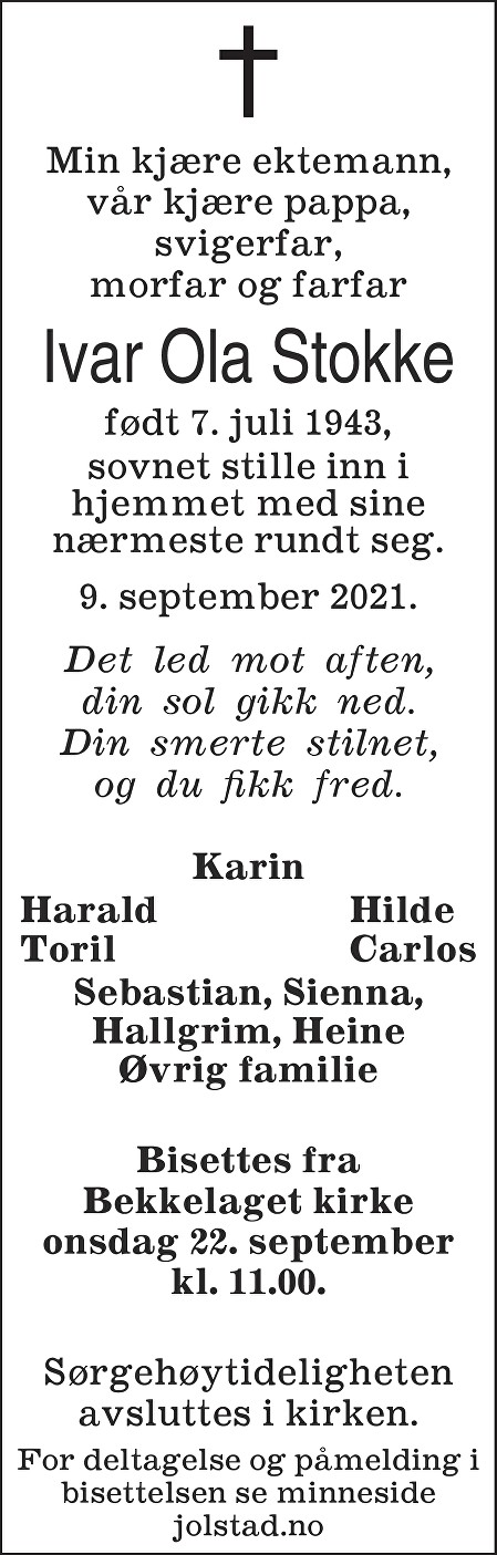 Ivar Ola Stokke Dødsannonse