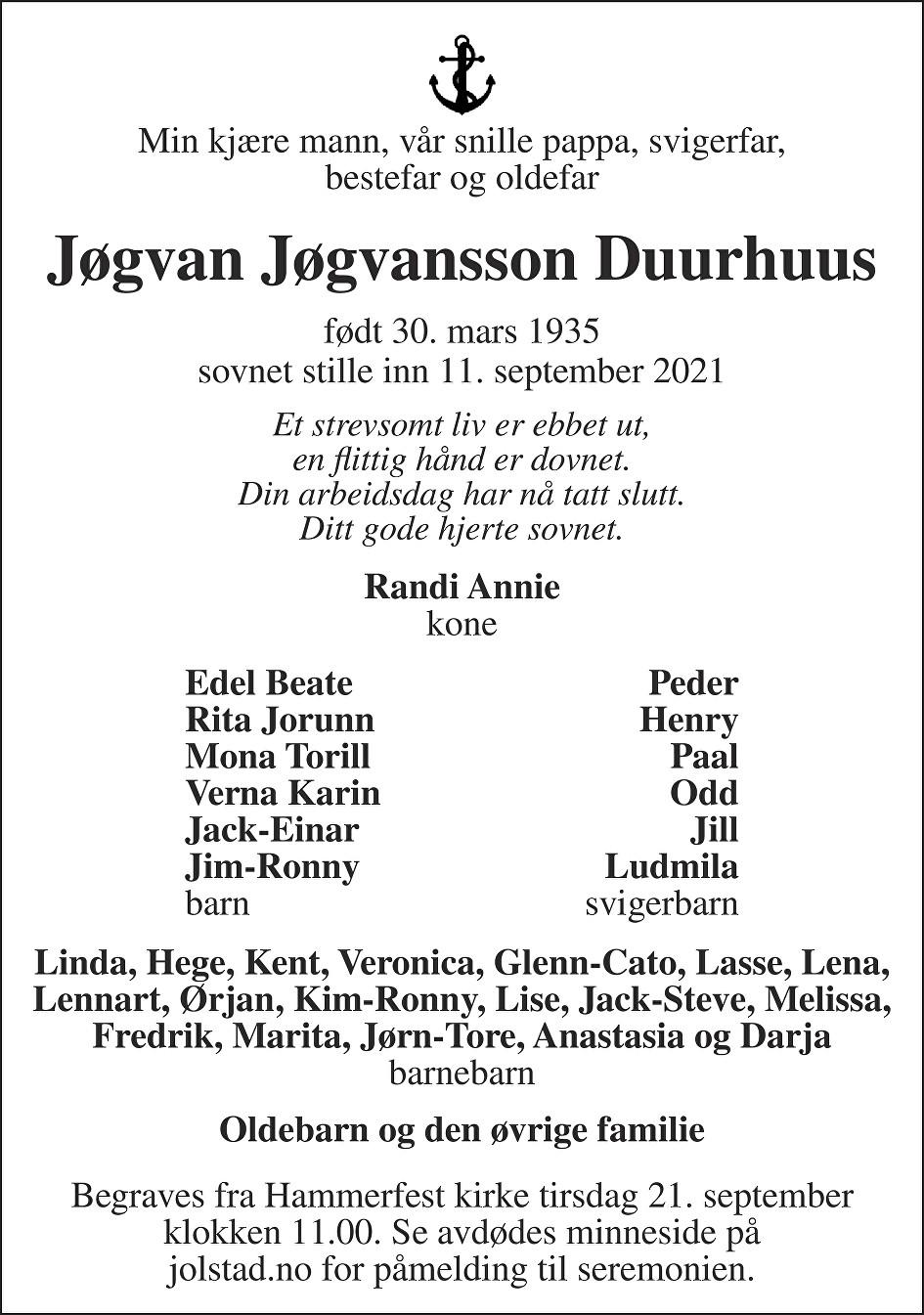 Jøgvan Jøgvansson Duurhuus Dødsannonse