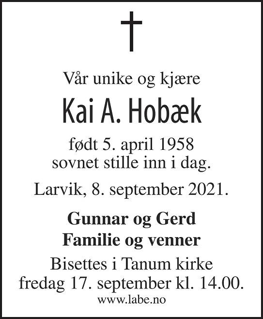 Kai Anders Ivan Hobæk Dødsannonse