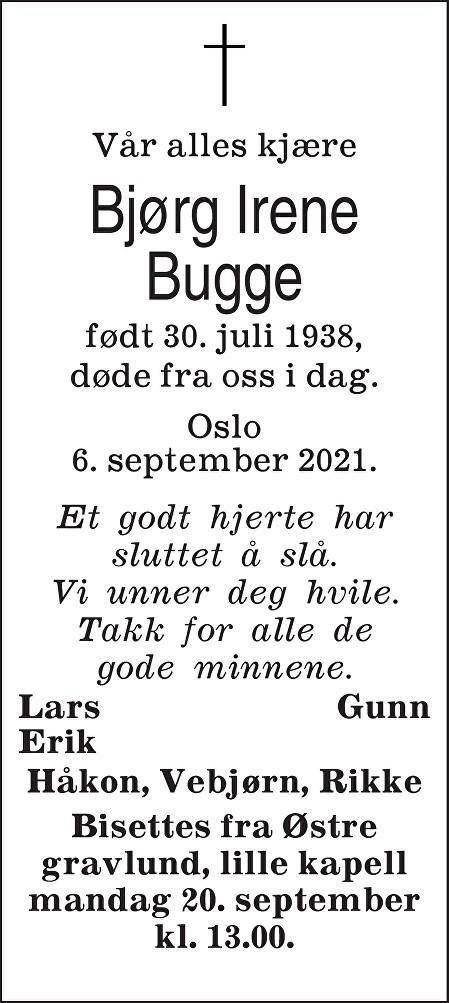 Bjørg Irene Bugge Dødsannonse