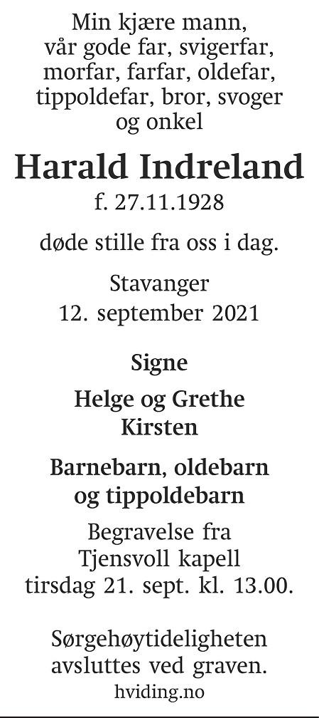 Harald Indreland Dødsannonse