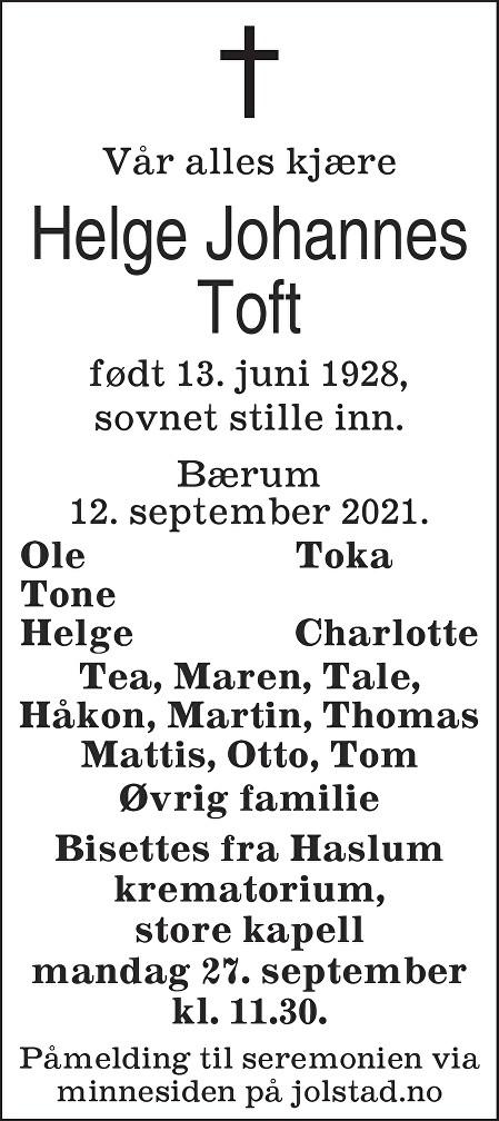 Helge Johannes Toft Dødsannonse