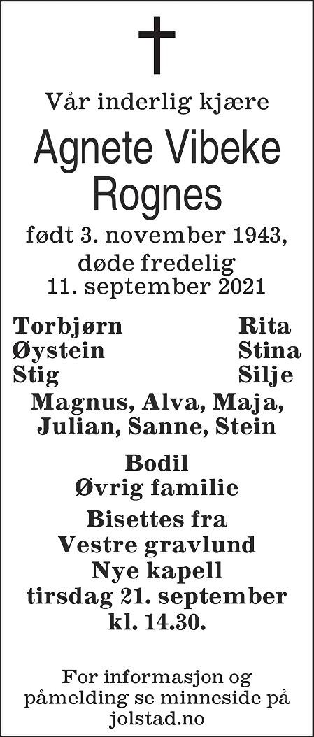 Agnete Vibeke Rognes Dødsannonse