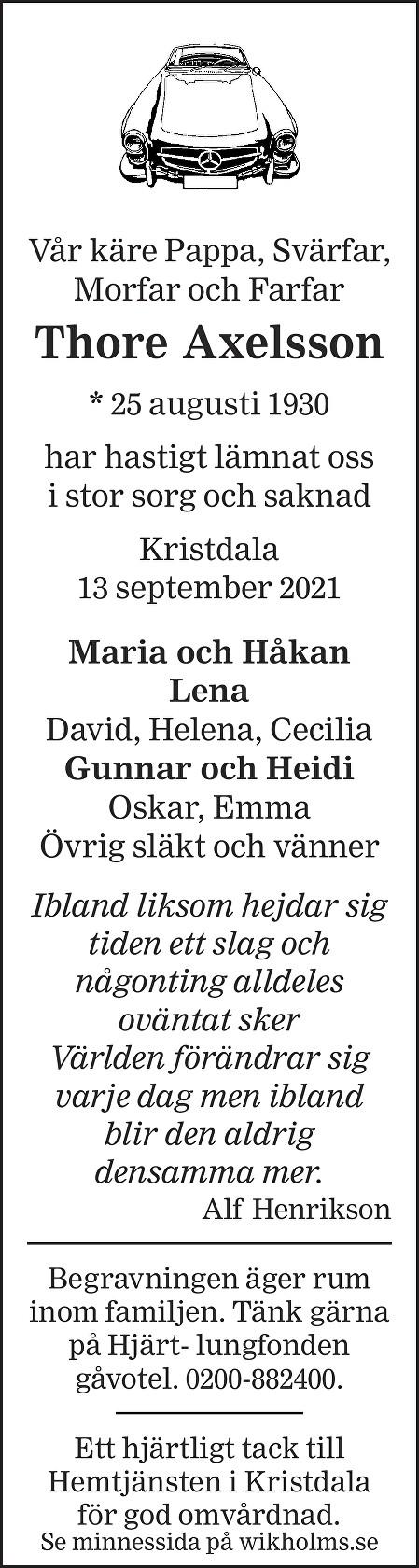 Thore Axelsson Death notice