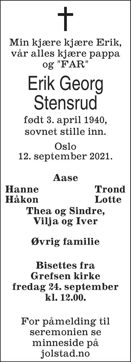 Erik Georg Stensrud Dødsannonse