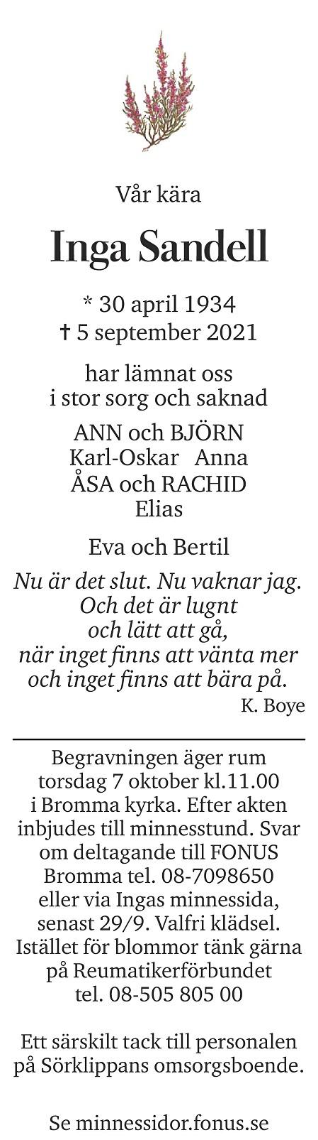 Inga Sandell Death notice