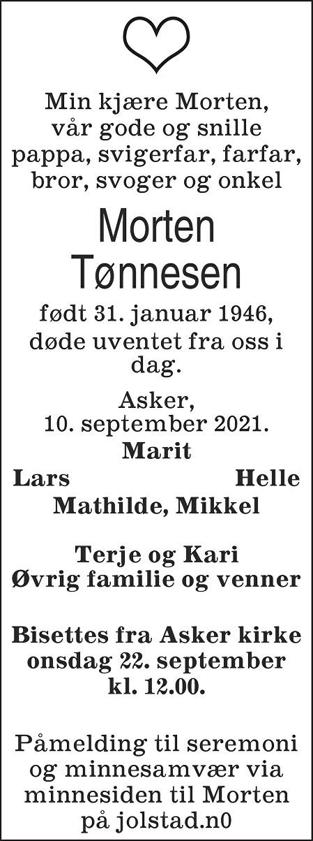 Morten Tønnesen Dødsannonse
