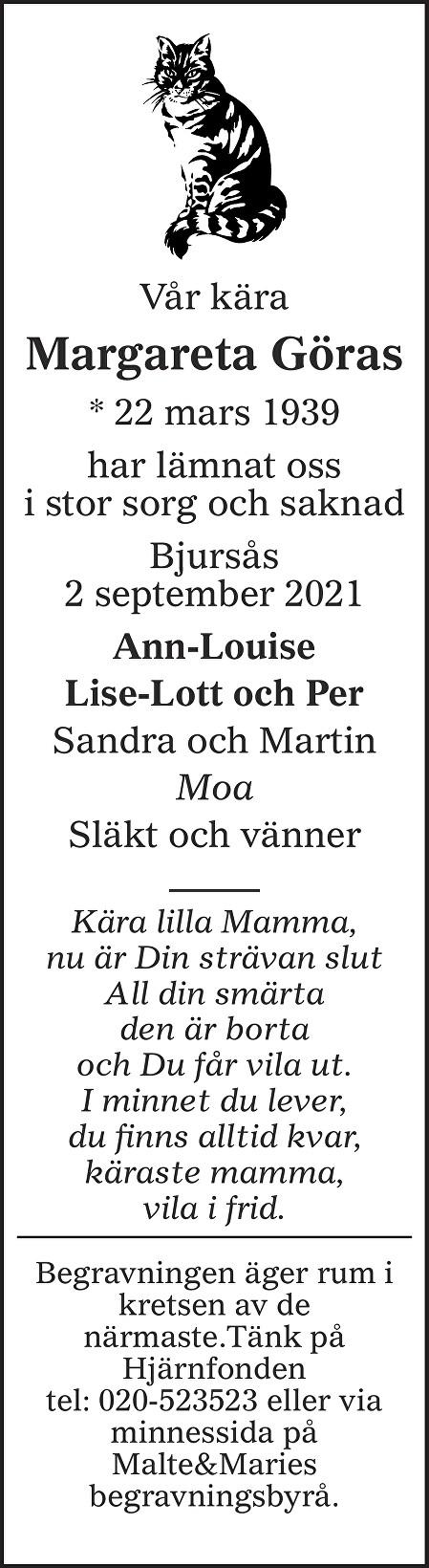 Margareta Göras Death notice