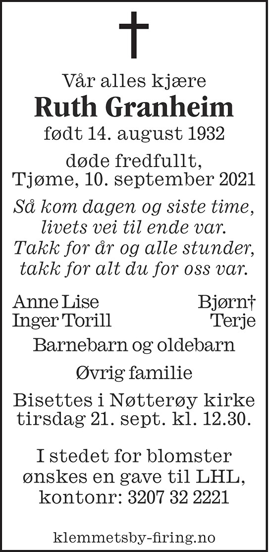 Ruth Granheim Dødsannonse