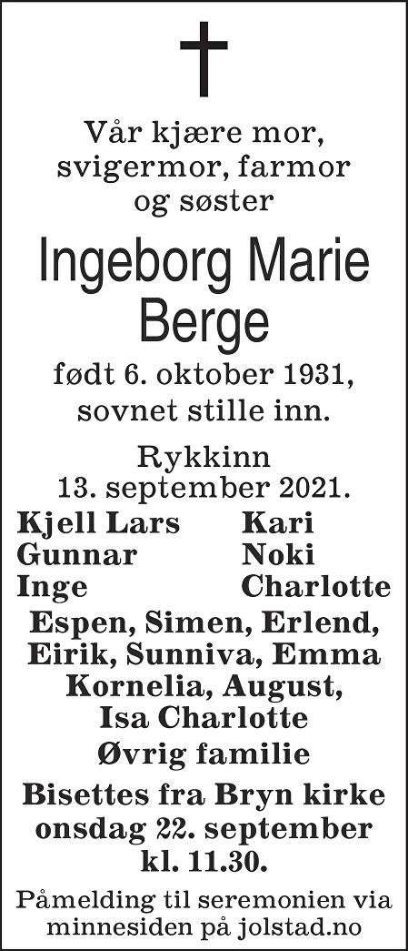 Ingeborg Marie Berge Dødsannonse