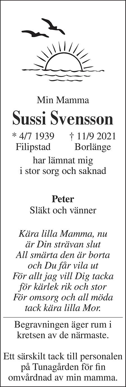 Sussi Svensson Death notice