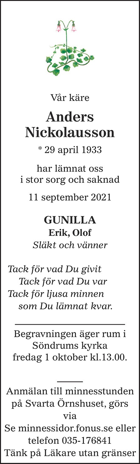 Anders Nickolausson Death notice