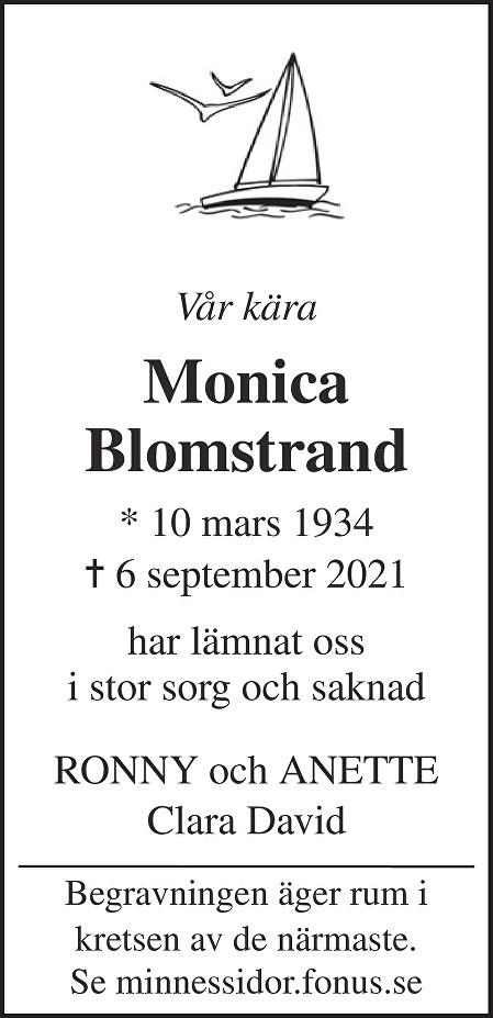 Monica Blomstrand Death notice